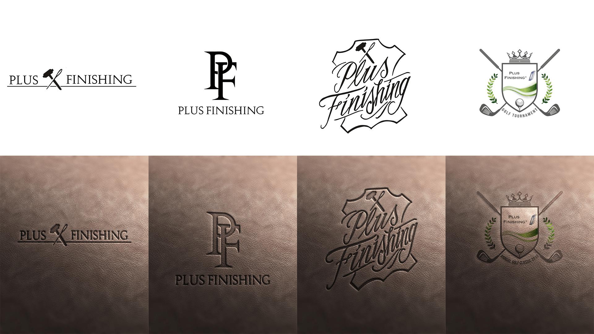 Plus Finishing Logo Redesign, dass thematisch auf einen Lederuntergrund gesetzt wurde.