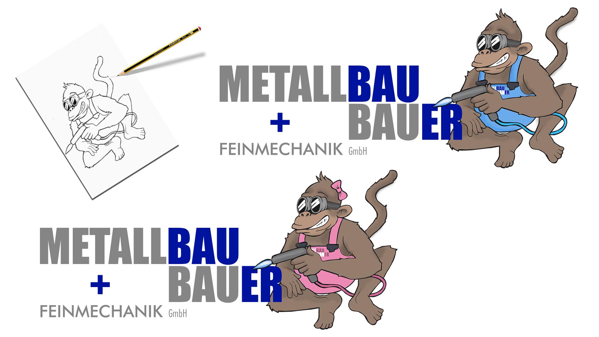 Logo Redesign für Metallbau Bauer. Schweißeräffle & Affenlady von der Handzeichnung bis zum fertigen Logo!